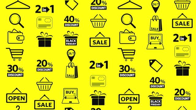 stockvideo's en b-roll-footage met winkelen icons set - black friday shop