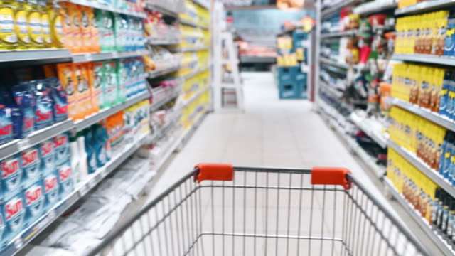 Shopping in Supermarket Real time personal perspective walking though supermarket aisles dishwashing liquid stock videos & royalty-free footage