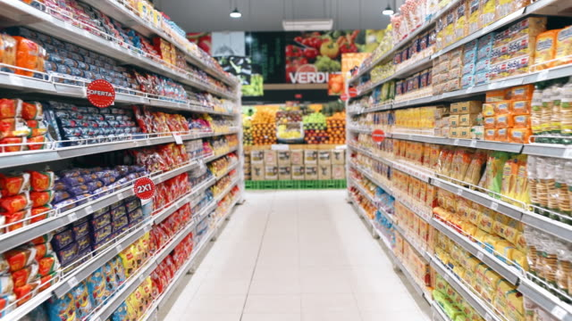 Shopping in Supermarket Real time personal perspective walking though supermarket aisles snack aisle stock videos & royalty-free footage