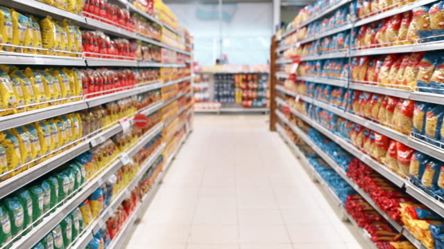 Shopping in Supermarket Real time personal perspective walking though supermarket aisles pantry stock videos & royalty-free footage