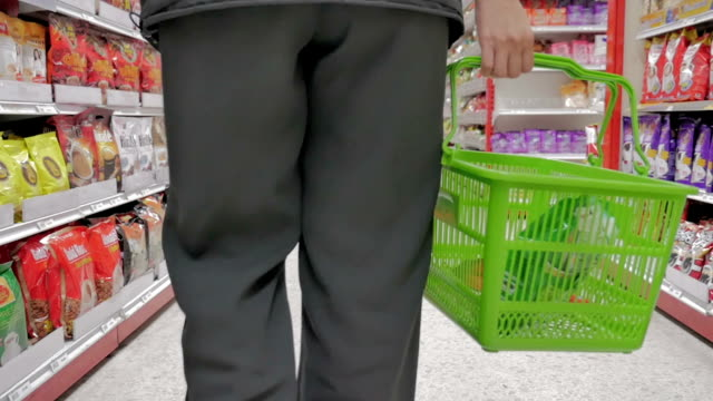 Shopping in supermarket,Slow motion video