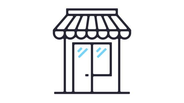 vídeos de stock e filmes b-roll de shopping line icon animation - shop icon