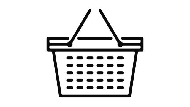 vídeos de stock e filmes b-roll de shopping line motion graphic - shop icon