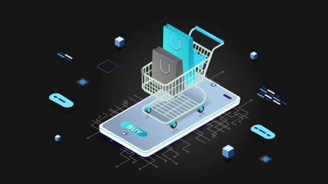 4k shopping on the phone with cart icon animation - technika ilustracji filmów i materiałów b-roll