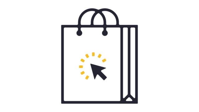 ショッピングのオンライン ライン アイコン アニメーション - アイコン プレゼント点の映像素材/bロール