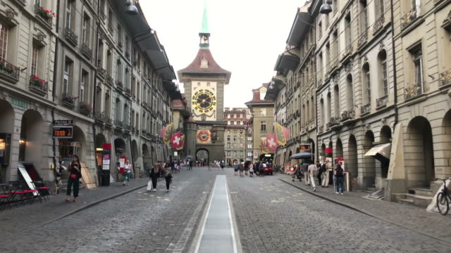 shopping street at bern city in switzerland - szwajcaria filmów i materiałów b-roll