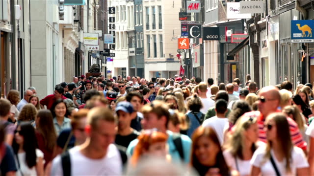 shopping street crowds in europe - dutch architecture stock videos & royalty-free footage