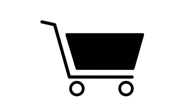 ショッピングトロリー カート アイコンとアニメーション ブラックとホワイト アウト - アイコン プレゼント点の映像素材/bロール