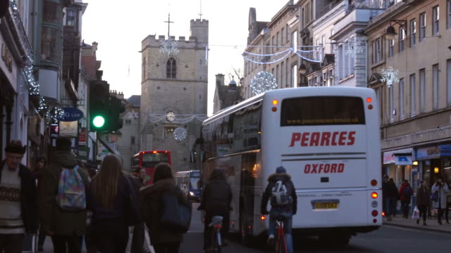 Shops In Oxford City Centre With Christmas Decorations video