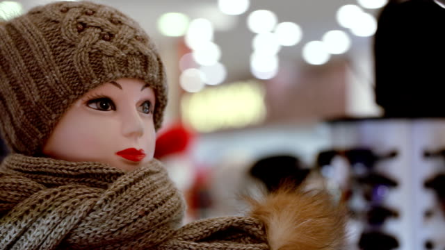 Shopwindow of hat and scarf shop video