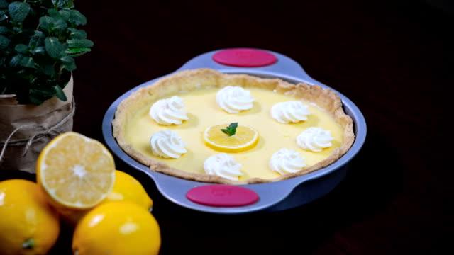 Shortcrust pastry lemon tart topped with lemon rind video