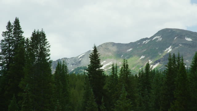 Shot from a Moving Vehicle of the San Juan Mountains in Colorado as Seen from Red Mountain Pass (Million Dollar Highway/US 550) through the Rocky Mountains in Summer on a Partly Cloudy Day
