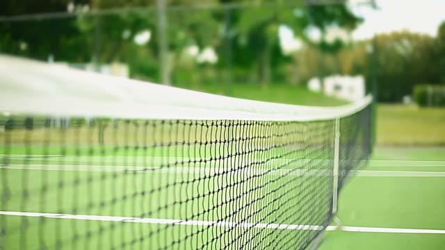 Shot of a Net inside an empty Tennis Court video
