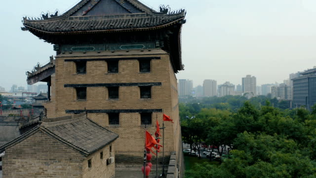 AERIAL Shot of ancient city wall,Xi'an, Shaanxi, China