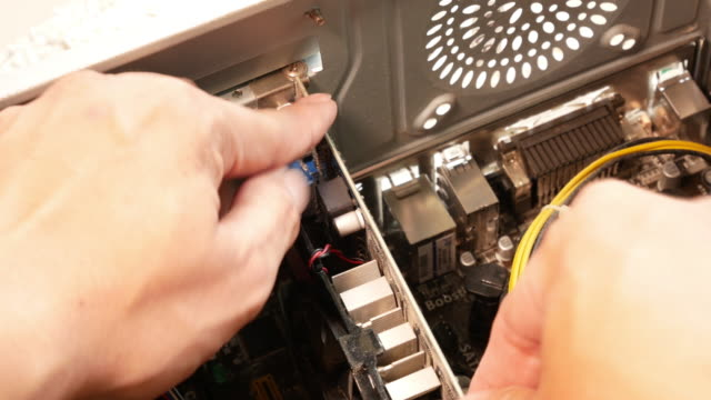 Shot of checking old computer video