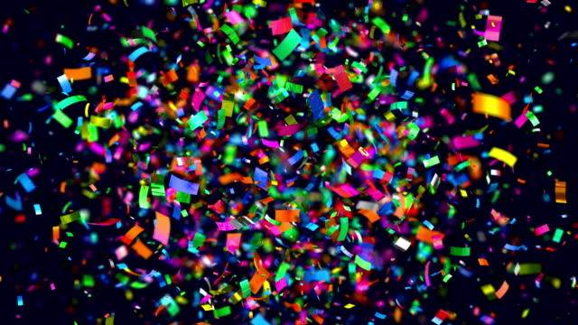 Shot of colourful confetti in 4K