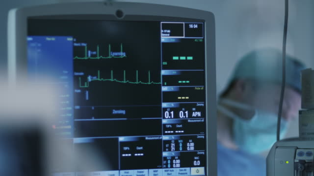 Shot of ECG Monitor in Operating Room During Surgical Operation video