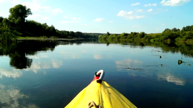 Shot of kayaking on picturesque river video