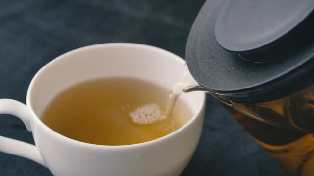 SLO MO Shot of Pouring Black Tea into Cup