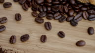 istock Shot of  roasted Coffee bean on the floor 1221016119