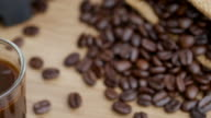 istock Shot of  roasted Coffee bean on the floor 1221023898