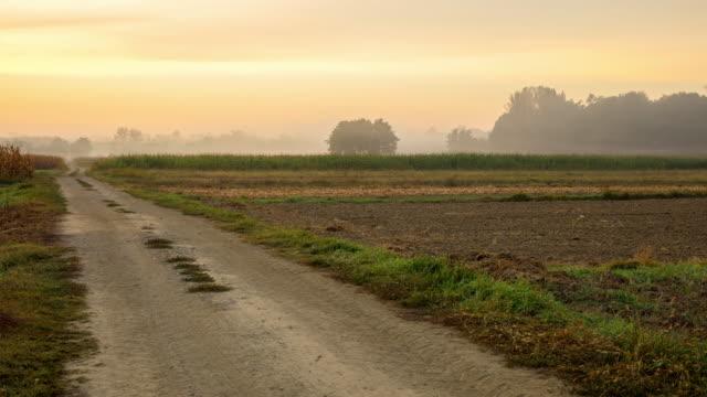 T/L 8K shot of rural fields in morning mist video