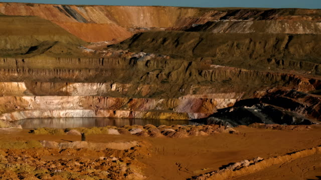PAN shot of spent quarry with artificial lake. Development of minerals. Environmental pollution. video