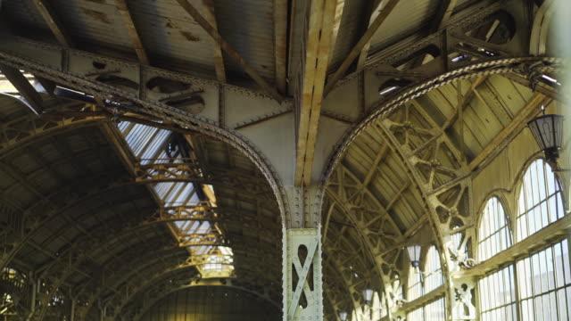 Shot of the platform of the Vitebskiy Railway Station in St. Petersburg.