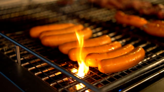 3 Shots Grilled Barbequeing Special Sausage on fire in Picnic video