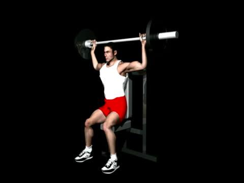 ショルダープレス、アルファチャネル ntsc - 人の筋肉点の映像素材/bロール