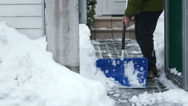 HD: Shoveling The Walkway After A Blizzard video
