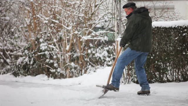 Shoveling winter snow video