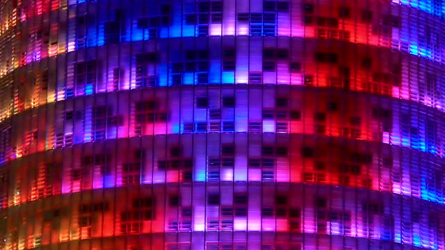 LED show on all-glass building, beautiful illumination, modern art, decoration video