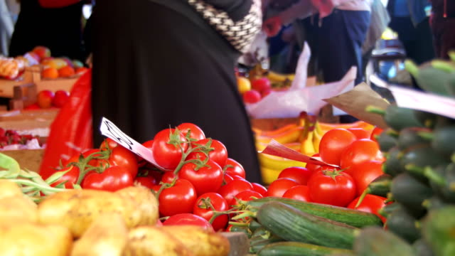 Showcase Vegetables. Counter with Vegetables on the Food market video