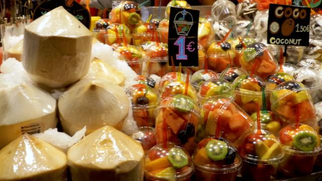 Showcase with Fruits at a Market in La Boqueria. Barcelona. Spain video