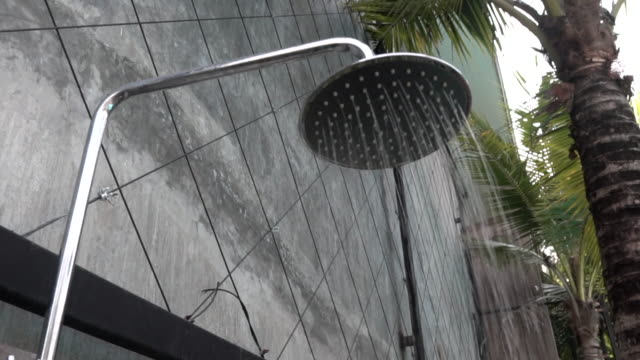 Shower with water drops splashing