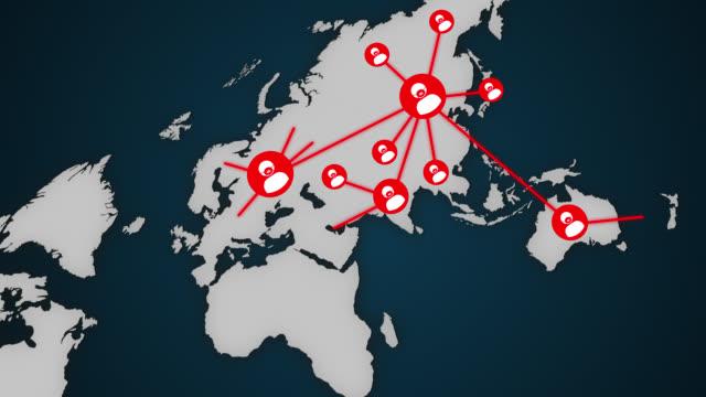 vídeos de stock, filmes e b-roll de mostrando infecção espalhada pelo mundo - dispersa