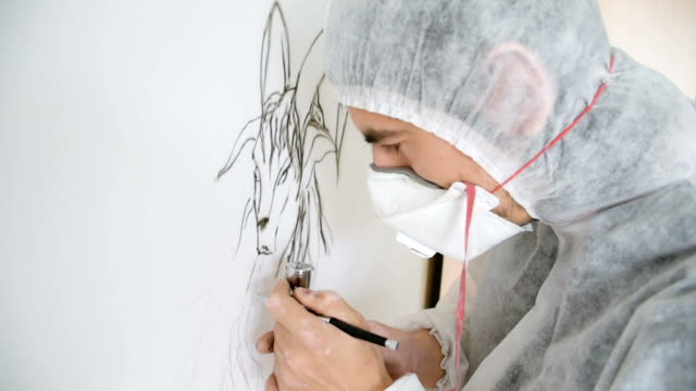 Showing of process of airbrushing video