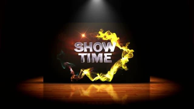 vídeos de stock, filmes e b-roll de hora do show animação de texto e tapete teatro abertura, processamento, fundo, loop - pré estreia