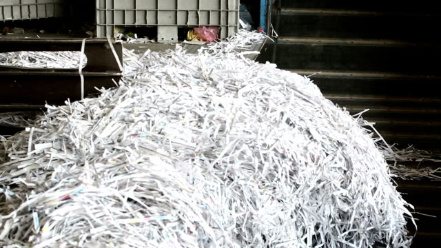 Shredded Paper Prepared For Recycling Process video