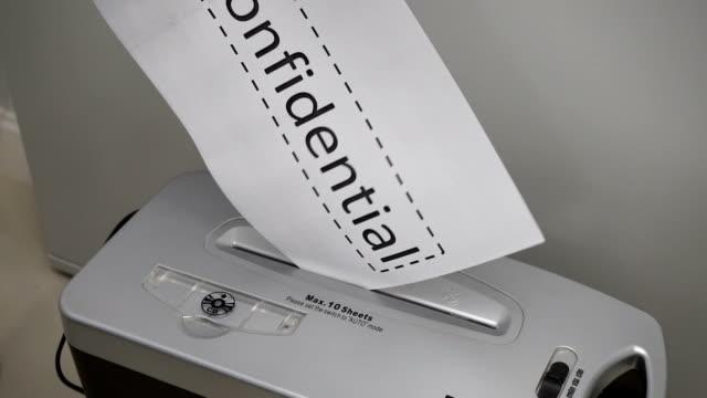 Shredding documentos de segurança. - vídeo