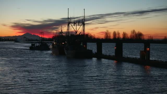 barca per pesca di gamberetti in partenza all'alba, steveston - fiume fraser video stock e b–roll