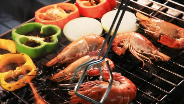 shrimp grilled on barbecue stove shrimp grilled on barbecue stove shrimp seafood stock videos & royalty-free footage