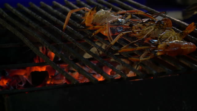 Shrimp on grill video