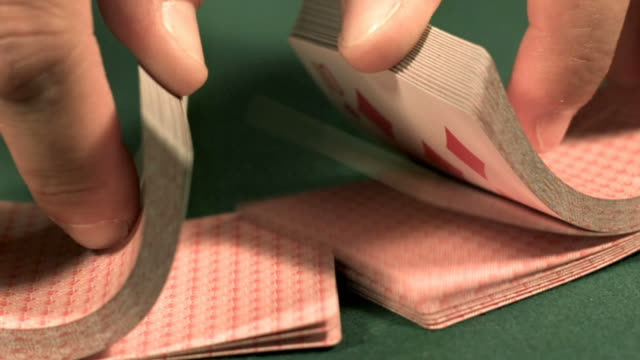 Shuffling cards slow motion video