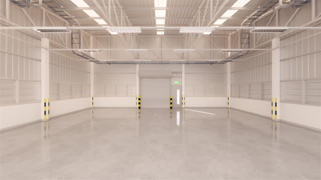 vídeos de stock e filmes b-roll de shutter door warehouse - fundo oficina