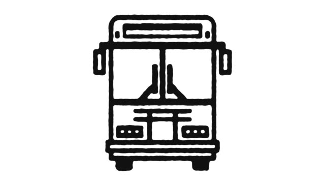 shuttle bus icon animation footage & alpha channel - tour bus stock-videos und b-roll-filmmaterial