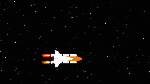 Shuttle in space pixel art looped animation. Spacecraft flying in dark starry galaxy retro video game footage. Sparkling stars on black background. Space exploration computer game video