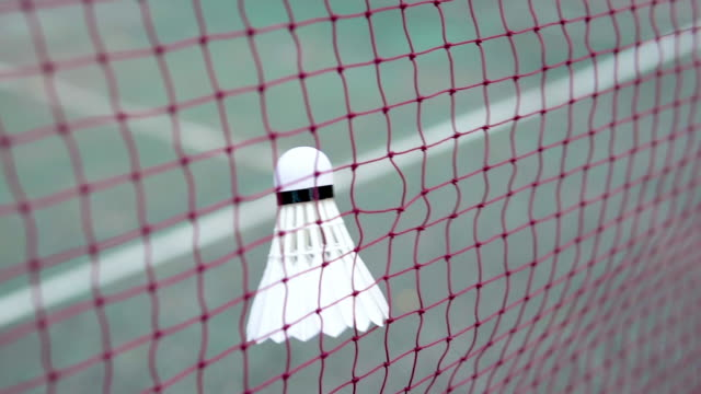 Shuttlecock hitting the net.