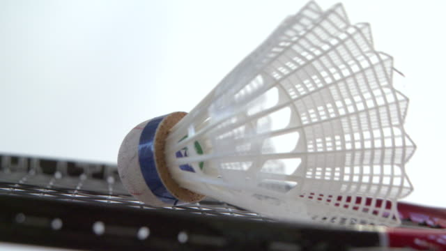 Shuttlecock resting on a badminton racket background video